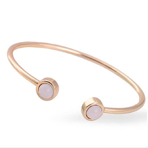 Bracelet - Gold Plated Stone Cuff Bangles - 3just3