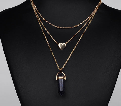 Necklace - Black Onyx Triple Layered Necklace