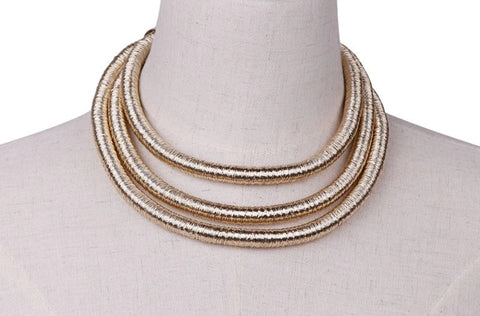 Necklace - Gold Multi Coil Rope Necklace