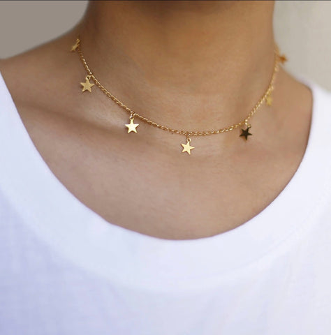 Necklace - Gold Stars Choker