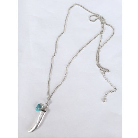 Necklaces -  Silver Chain with Horn and Turquoise Stone Necklace - 3just3