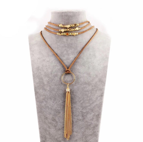 Necklace -  Wrap Gold Tassel Necklace