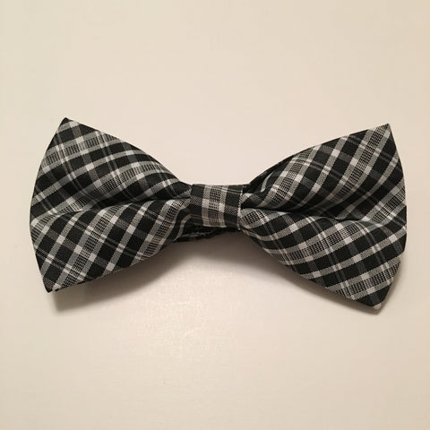 Men Bow Ties - Black & White Plaid - 3just3