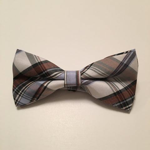 Men Bow Ties - Cream with Blue Plaid - 3just3