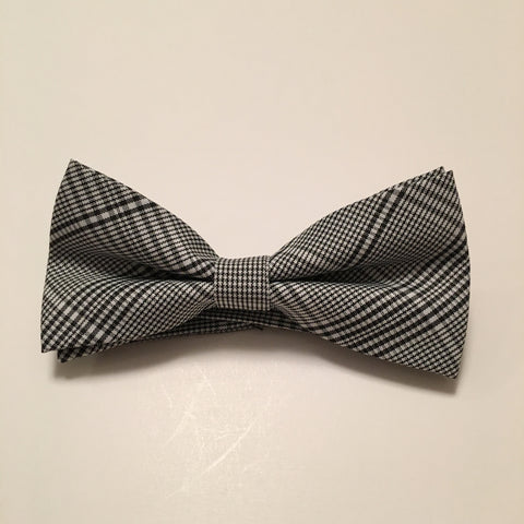 Men Bow Ties - Black Gray Plaid - 3just3