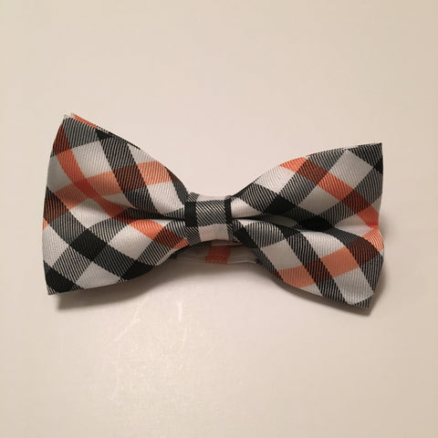 Men Bow Ties - Black & Orange Plaid - 3just3