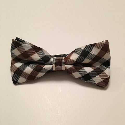 Men Bow Ties - Brown Black Plaid - 3just3