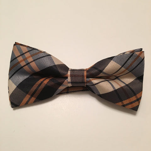 Men Bow Ties - Brown Creme Plaid - 3just3