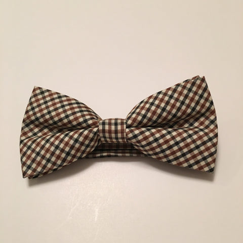 Men Bow Ties - Brown Mini Plaid - 3just3