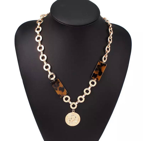 Necklace - Gold Medallion with Tortoise Necklace