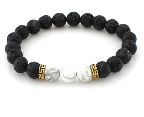 Men Bracelet - Marble and Black Beaded Bracelet