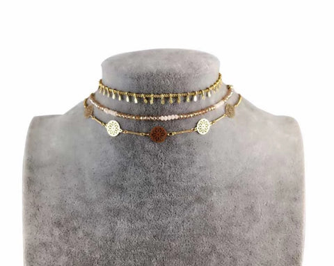 Necklaces -  Multi Gold Choker Set