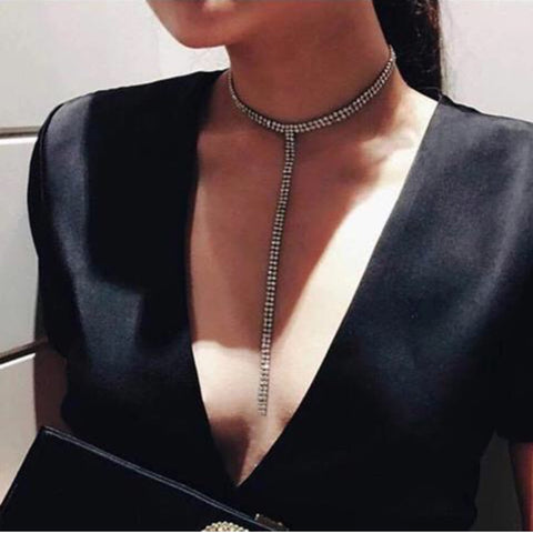 Necklaces - T-Choker of Diamonds