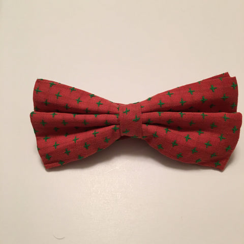 Men Bow Ties - Green Cross on Red - 3just3