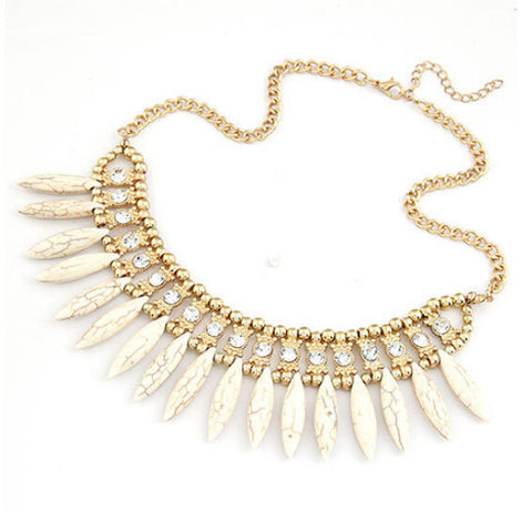 Necklaces -  White Statement Necklace with Crystals - 3just3 - 1