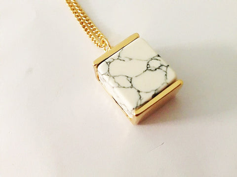 Necklace - Cube Marble Pendant Necklace - 3just3