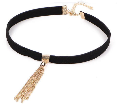 Necklaces -  Choker with Gold Tassel - 3just3 - 1