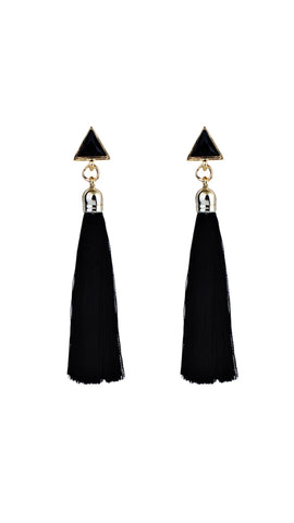 Earrings - Black Triangle Tassel Earrings