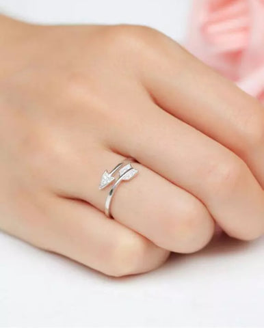 Rings - Silver Arrow Ring with Crystals