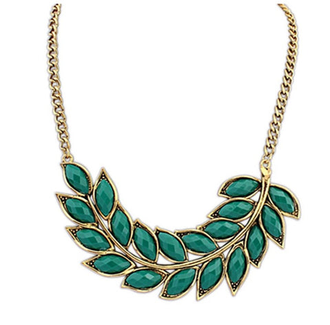 Necklaces - Green Leaf Statement Necklace - 3just3