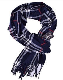 Scarfs - Men's Blue & White Plaid Scarfs - 3just3