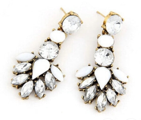 Earrings - White Crystal Drop Earrings - 3just3