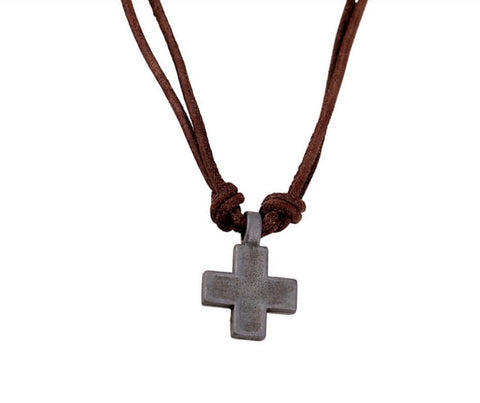 Men Necklaces - Men's Cross Leather Necklace
