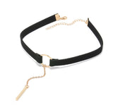 Necklaces -  Choker with Gold Bar