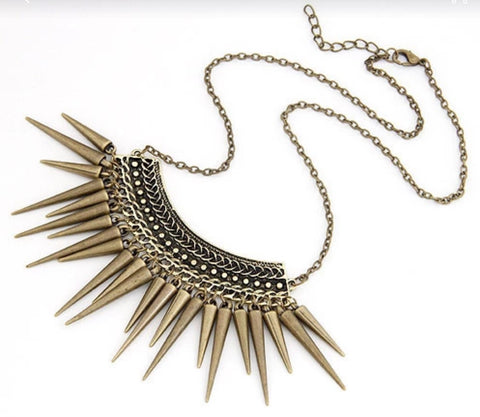 Necklaces - Golden Spike Statement Necklace