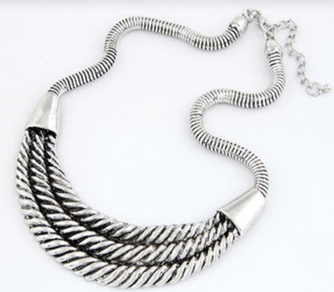 Necklaces - Triple Rope Silver Necklace
