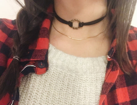 Necklaces -  Black Circular Choker with Gold Chain
