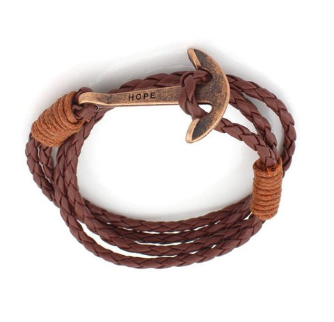 Men Bracelet - Gold Anchor Brown Rope Bracelet