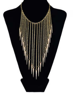 Necklaces - Gold Fringe Bib Necklace - 3just3 - 1