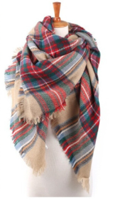 Scarfs - Plaid Blanket Scarfs - Red Plaid - 3just3 - 1