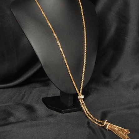 Necklaces - Women Gold Rhinestone Tassels - 3just3 - 1