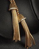 Necklaces - Women Gold Rhinestone Tassels - 3just3 - 2