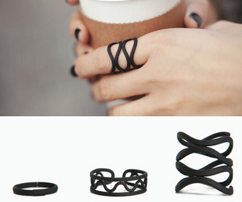 Rings -3 Pcs/set Black Metal Cross Ring Set - 3just3 - 1
