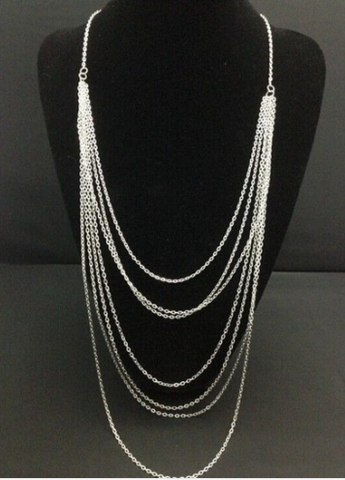 Necklaces - Multi Length Silver Long - 3just3