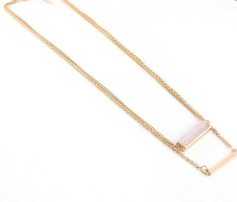 Necklaces - Trendy Multi Layer Pink Crystal Pendant Necklace - 3just3