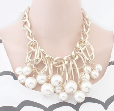 Necklaces - Royal Pearl Gold Plated Necklace - 3just3