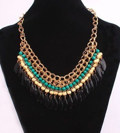 Necklaces -  Multilayer Resin Beads & Pendants Gold Necklace - 3just3