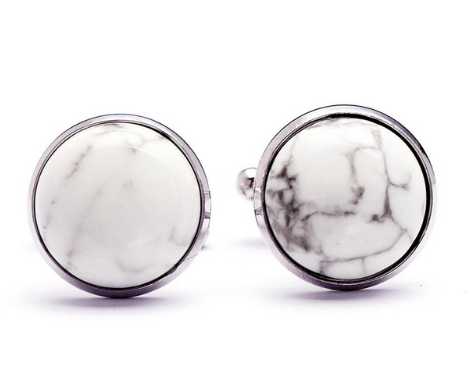 Men Cufflinks - Round Marble Cufflinks - 3just3