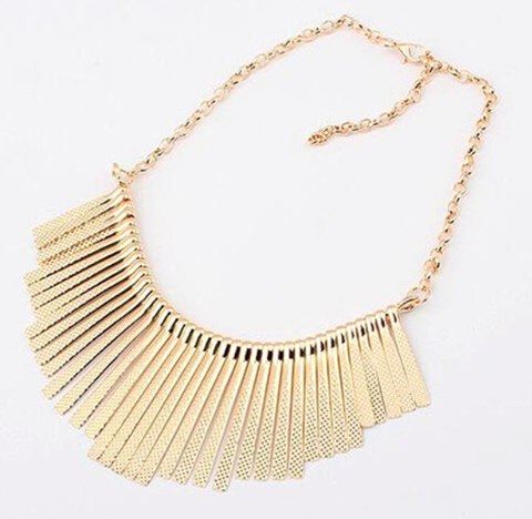 Necklaces - Gold Fringe Necklace - 3just3