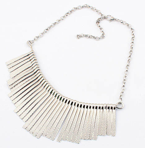 Necklaces - Silver Fringe Necklace - 3just3
