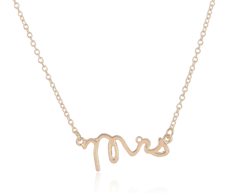 "Necklaces - Gold Plated ""Mrs"" Necklace - 3just3"