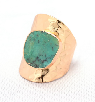 Rings - Gold Plated Turquoise Stone Ring - 3just3