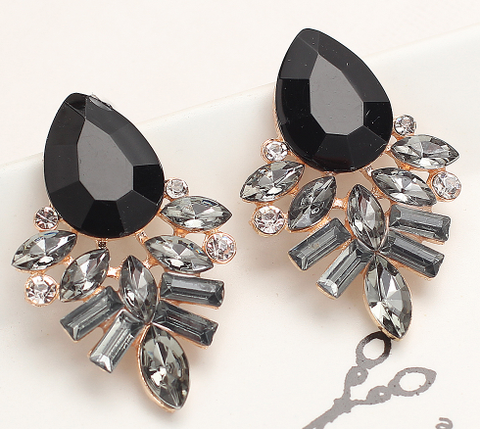 Earrings - Onyx Black Rhinestone & Crystal Earrings - 3just3