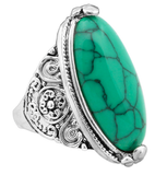 Rings - Silver Plated Oval Turquoise Ring - 3just3 - 1