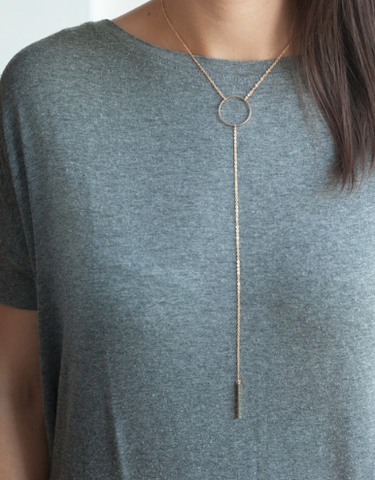 Necklaces - Gold Circle With Tassel Necklace - 3just3