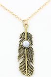 Necklaces - Metal Feather Pendant Necklace - 3just3 - 2